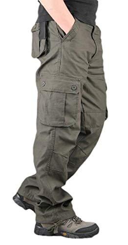 WSPLYSPJY Hombres otoño Moda Militar Tipo Cargo pantalón de Carga Relajado Ajuste Pantalones Militares…