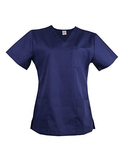 JONATHAN UNIFORM Haut Blouse Médicale Femme avec Col V et 3 Poche Uniforme Infirmière Uniforme d'Hôpital Scrub Top (Bleu, 3XL)