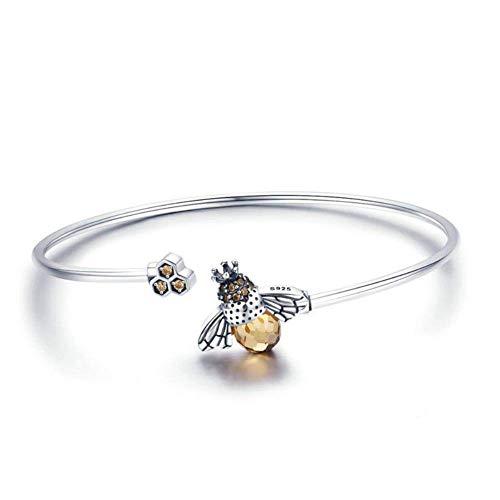 G&UWEI Sterling Silber Armband Honig-Hummel-Biene Mit Kristallen Bee Schmuck Geburtstags-Geschenken Bee Charms Für Armband 925 Sterlingsilber Für Frauen Valentine Romantisches Geschenk
