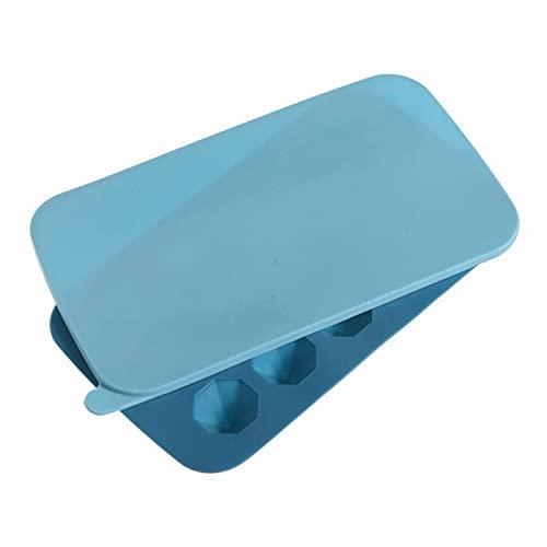 LDH 3 PCS Bandeja de Hielo de Silicona con Tapas, Molde de Cubo de Hielo Apilable, Bandejas de Cubitos de Hielo de Silicona Alienígenas con Tapas para Whisky, Cócteles (Color : Azul)