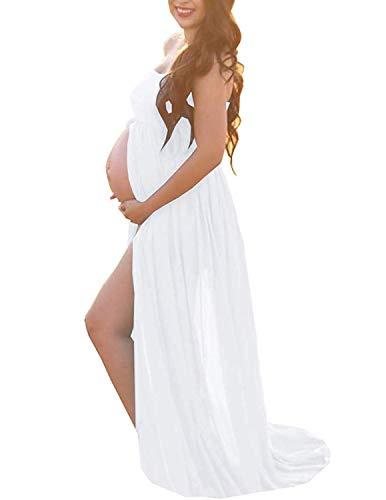 BUOYDM Mujer Embarazada Chifón Largos Vestido de Fiesta Foto Shoot Dress Fotográficas de Maternidad Apoyos De Fotografía (Talla única-Busto:95-120CM, Longitud:170CM, D-Estilo 4)