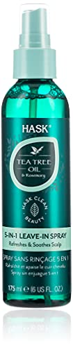 HASK Tea Tree Oil 5-in-1 Leave-In Conditioner Soothing and Restoring for All Hair Types, Color Safe, Gluten/Sulfate/Paraben-Free, White