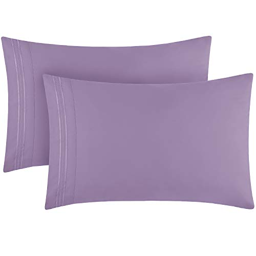 Mellanni Luxury Pillowcase Set - 1800 Bedding - Wrinkle, Fade, Stain Resistant (Set of 2 Standard/Queen Size 20'x30', Violet)