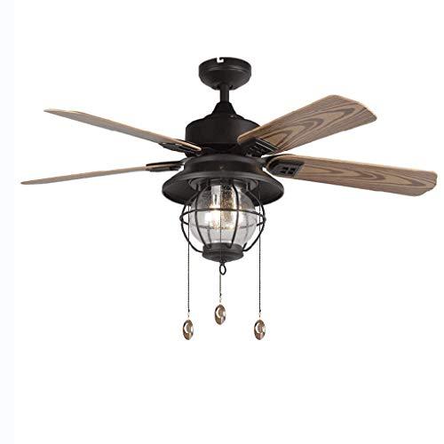 UWY Ventilador de Techo a Prueba de Lluvia para Exteriores, luz para balcón, jardín, Parasol Impermeable, Ventilador de Techo, lámpara Americana, luz de Ventilador de Cuerda silenciosa (Negro)