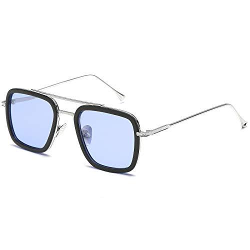 SHEEN KELLY Luxus Retro Sonnenbrille Quadratische Brillen Metallrahmen für Männer Frauen Klassiker Sonnenbrille Piloten Silber Schrittweise Linsen, Blau1:1