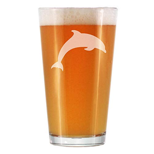 Pint Glass with Jumping Dolphin