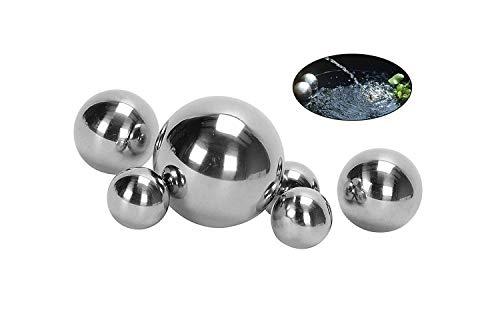 Nostalgic Garden 6 x Dekokugel Set Gartenkugel Silber rostfrei Edelstahl + 1 x Dekoherz aus Holz (6)