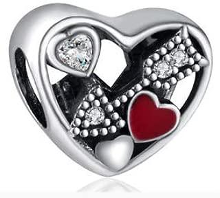 25pcs arrows Heart European Silver Pendant CZ Charm Beads Fit Necklace Bracelet unique pretty good party decoration accesories designer jewels girl accessories