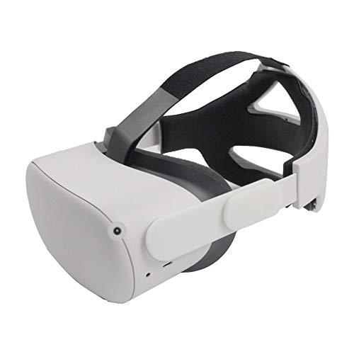 JJWA Halo Strap per Oculus Quest 2 VR Headset Ridurre la Pressione Testa Regolabile Fascia Fascia Fascia Pad Leggero Comodo Realtà Virtuale Accessori (Beige)