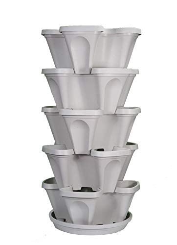 Mr. Stacky 5-Tier Strawberry and Herb Garden Planter - Stackable Gardening Pots with 10 Inch Saucer (Stone)