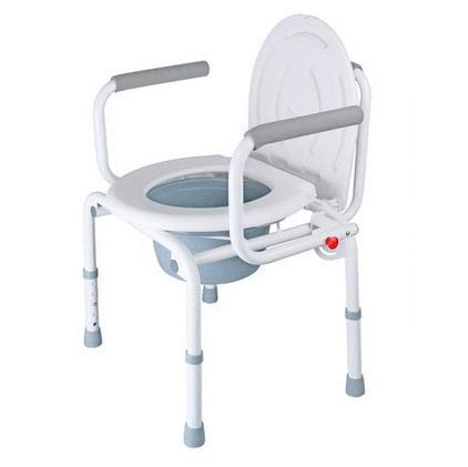 CDW Klappbaren Tragbaren Toilettenstuhl, Alte Menschen Schwangere Toilette Hocker Verstellbare Höhe Plastikkissen, Für Einfache Transfers Bade Sessel Weiß