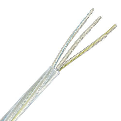 Kabel 3 x 0,75mm² transparent 3 Meter PVC/PVC isolierte Leitung Leuchtenkabel Lampenkabel Strom-Kabel 3G