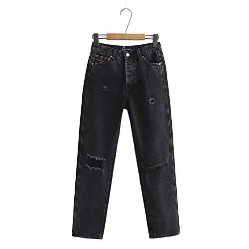 Pantalones Vaqueros de Mujer Pantalones Harem Pantalones Vaqueros Lavados a la Piedra de Cintura Alta Botones Expuestos Pantalones Desgastados Desgastados y deshilachados Rotos XS