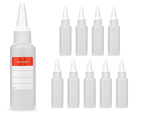 10 x 50 ml frascos de plástico, botellas de plástico de polietileno de alta densidad con tapa con cuentagotas o gotero, frascos vacíos para p.ej. e-líquidos / cigarrillos electrónicos, aceites o desco