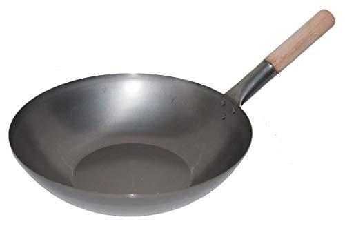 AAF Nommel ®, Wok Pfanne Flacher Boden Ø 40 cm aus Karbon Stahl, für Gas und Induktionskochfelder, mit Holzgriff