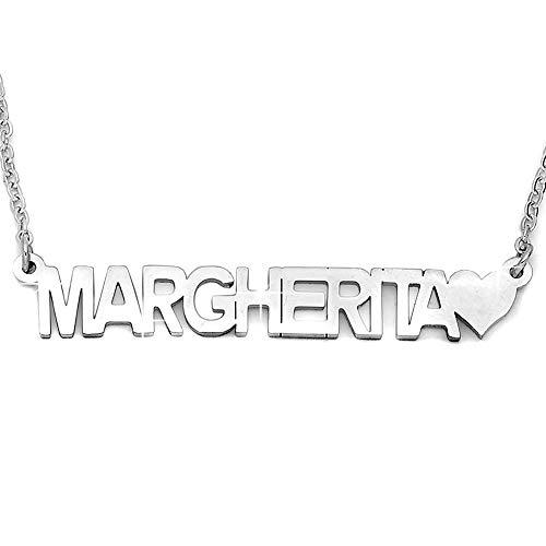 DaMei Collar Plata Personalizado Colgante Corazón con Familia Nombre Plata de Ley 925 Colgante Collares Regalo para Novia Grabado Personalizado Corazón para Ella (Silver, 18)