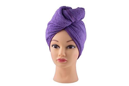 100% Cotton Hair Bath Towel Terry Wrap Long Soft Hair Quick Drying Towels - Not Microfiber (Lavender)