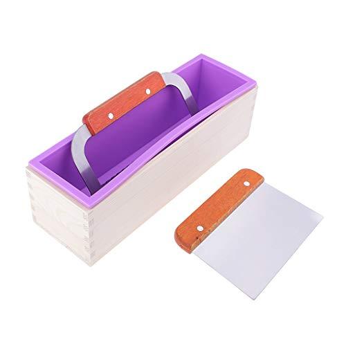 Tubayia Molde rectangular de silicona hecho a mano con 2 cortadores de jabón