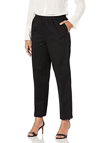 Alfred Dunner Women's All Around Elastic Waist Cotton Short Twill Pants, Black, 16