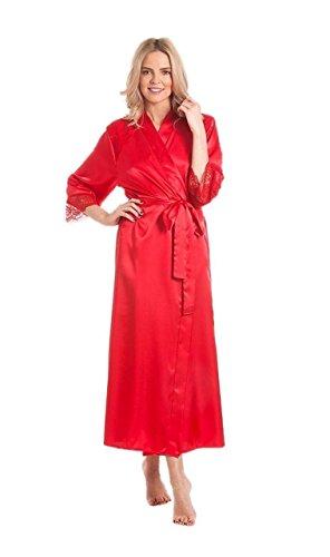 Damen Satin Bademantel Gewickelt Bademantel Kimono Hausmantel Bedecken Übergröße - Rot, 50-52