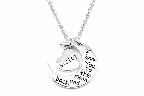"""Kim Johanson Mond Halskette Silber """"Ich liebe dich bis zum Mond und zurück"""" inkl. Geschenkverpackung (Schwester)"""