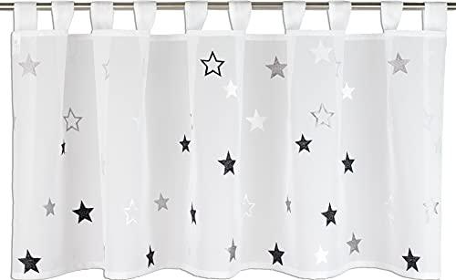 Startex Schlaufenpanneaux, Schlaufengardine Sterne 2409 Weiß Grau Schwarz 48 x 140 cm