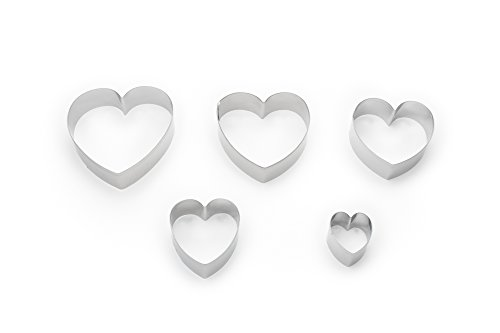 Fox Run Heart Shaped Cookie Cutters, 5-Piece Set with Storage Tin Included, Stainless Steel