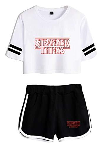 JOAYIN Niña Camiseta y Pantalones Cortos Impreso con Logo de Stranger Things Moda Encantadora Camiseta de Cintura Alta con Mangas a Rayas(S)