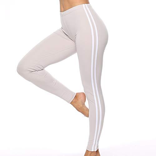 Anyeda Yogahose Jungen Polyester Zwei Weiße Balken An Den Seiten Sporthose Yoga Damen Hellgrau M