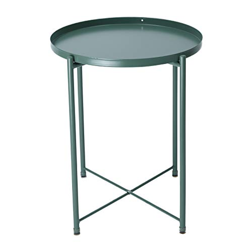 IKAYAA Tavolino Rotondo con Vassoio Rimovibile, Tavolo Snack Laterale Divano Tavolino da caffè Comodino in Metallo per Soggiorno, Camera da Letto, Patio Verde