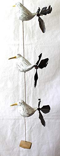 Windspiel Möwe Maritim Mobile Holz Tier Vogel Gartendeko