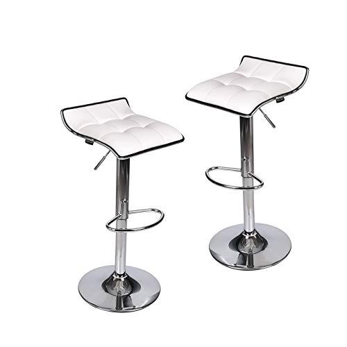 Set of 2, Adjustable Swivel Gas Lift Barstools, PU Leather with Chrome Base, White