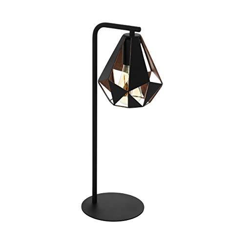EGLO Tischlampe Carlton 4, 1 flammige Vintage Tischleuchte, Nachttischleuchte aus Stahl, Farbe: Schwarz, kupferfarben-antik, Fassung: E27, inkl. Schalter