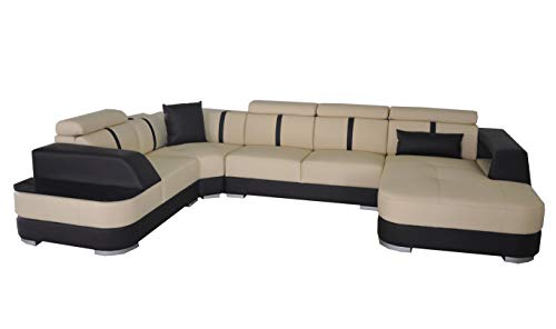 JVmoebel - Cuscino angolare per divano e divano, in pelle, a forma di U