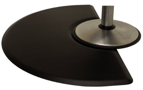 "IC Urethane 3' X 5' x 5/8"" Salon Barber Half Round Anti-Fatigue Mat w/Depression in Black, +Free Cape Co. Apron ($20 Value) Best in Industry!"