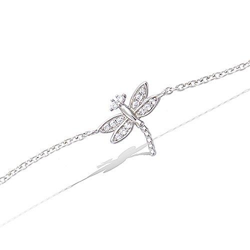 Tata Gisèle - Pulsera de cadena de plata 925/000 rodiada y óxido de circonio, diseño de libélula
