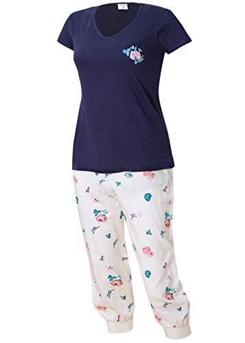Damen Schlafanzug kurz mit Caprihose Größe S M L XL (blau weiß, 40-42)