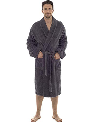 CityComfort Bata de baño para Hombres Bata de algodón 100% Terry Albornoz Albornoz Baño Ideal para Gimnasio Ducha SPA Hotel Bata Tamaño de Vacaciones M/L, L/XL, 2XL, 3XL y 4XL (2XL, Gris carbón)