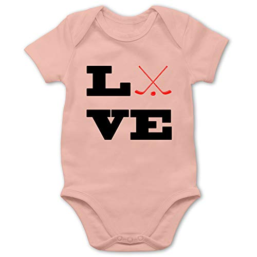 Sport Baby - Eishockey Love - 1/3 Monate - Babyrosa - Eishockey Baby - BZ10 - Baby Body Kurzarm für Jungen und Mädchen
