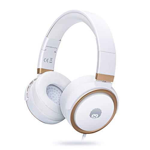 Rockpapa Circle One Cuffie con microfono e controllo del volume per iPod iPad iPhone Macbook Samsung Galaxy Huawei Redmi Telefono PC Compressa MP3/4 in auto/aeroplano Bianco Oro