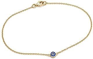 Evil Eye Bracelet, 14K Solid Yellow Gold Evil Eye Bracelet, Dainty Evil Eye Bracelet, Evil Eye Jewelry, Gold Evil Eye Bracelet
