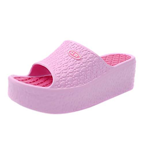 TTLOVE Damen Sommer Sandalen mit Keilabsatz Plateauschuhe Strand Loch Schuhe Wedge Beach Damen Sandalen Peeptoe Sandalen Slip-Ons Pantoletten Hausschuhe