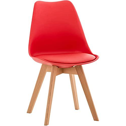 DPPAN Conjunto de 2 sillas, Silla de Comedor, Sillas Madera nórdicas con Patas de Madera y Asiento Acolchado Suave, Respaldo ergonómico, Adecuada para Sala de Estar, Comedor,Red