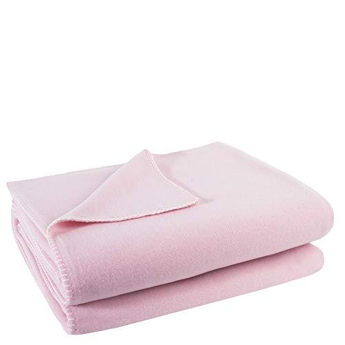 Soft-Fleece-Decke – Polarfleece-Decke mit Häkelstich – flauschige Kuscheldecke – 110x150 cm – 311 dark rose - von 'zoeppritz since 1828'