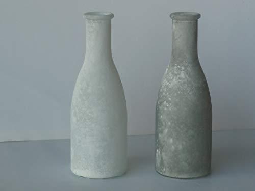Florissima 2X Glasflasche Glasvase Glas Flasche Vintage/Frost weiß und grau gefrostet 18,5cm hoch, Ø 6,5cm, Ø Öffnung 2cm, Glas Vase, kleine Blumenvase, Deko