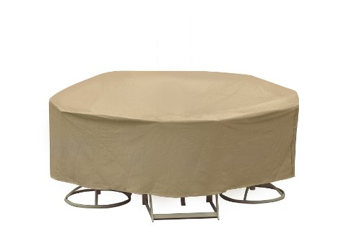 Protective Covers Weatherproof Patio Table and Chair Set Cover, 60 Inch Round Table, Tan - 1349-TN