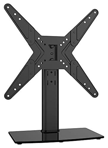 Mesa base giratoria universal para TV de 21 a 43 pulgadas con 90 grados giratorio de 4 niveles de altura ajustable (color negro)