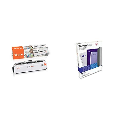 Peach PB200-70 - Rilegatrice Termica, Cartelle Fino A 300 Fogli A4 & GBC 45443 Copertine per Rilegatura Termica Standard, 12 mm, Confezione da 25, Bianco