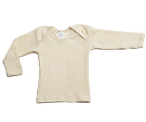 Hocosa Organic Merino Wool Baby Shirt, Long Sleeves, Envelope Neckline. 86/92 (1-2 yr), Natural White