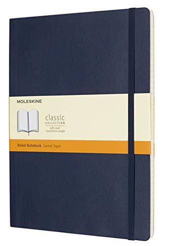 Moleskine - Carnet de Notes Classique Papier à Rayures - Journal Couverture Souple et Fermeture par Elastique - Couleur Bleu Saphir - Très Grand Format 19 x 25 cm - 192 Pages